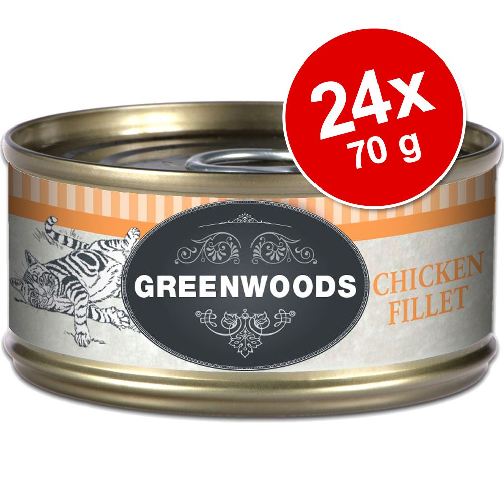 Ekonomipack: Greenwoods Adult våtfoder 24 x 70 g - Chicken & Cheese