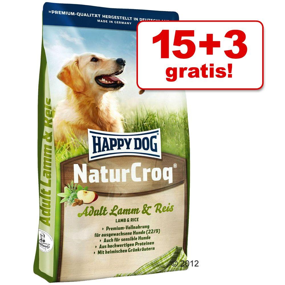 15 + 3 kg gratis! Happy Dog Natur Croq, 18 kg - Jagnięcina i ryż