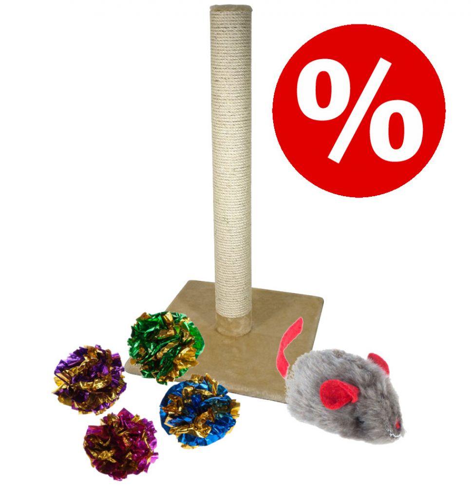 Sparset: Olga klöspelare + prasselbollar + mus med kattmynta och pipljud - Set med 3 delar