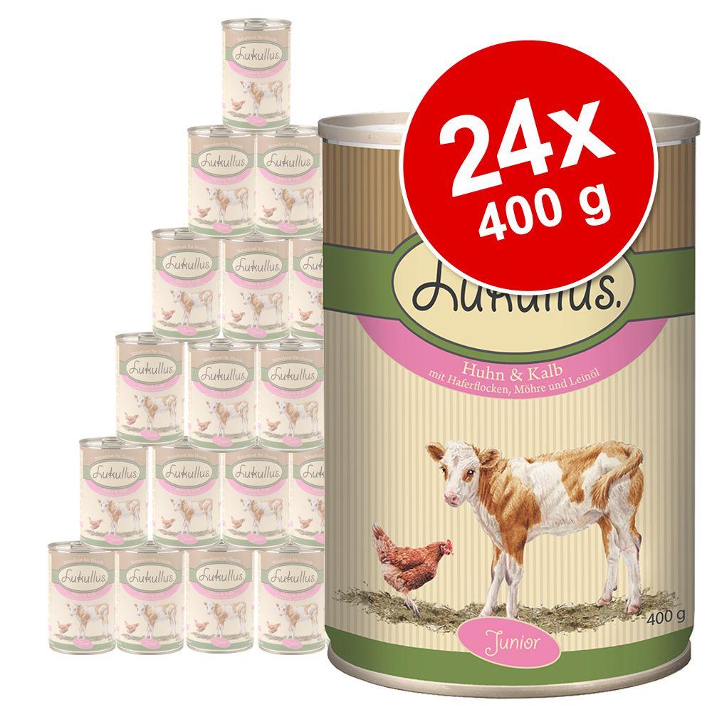 Ekonomipack: Lukullus Junior 24 x 400 g - Kalkonhjärta & lamm