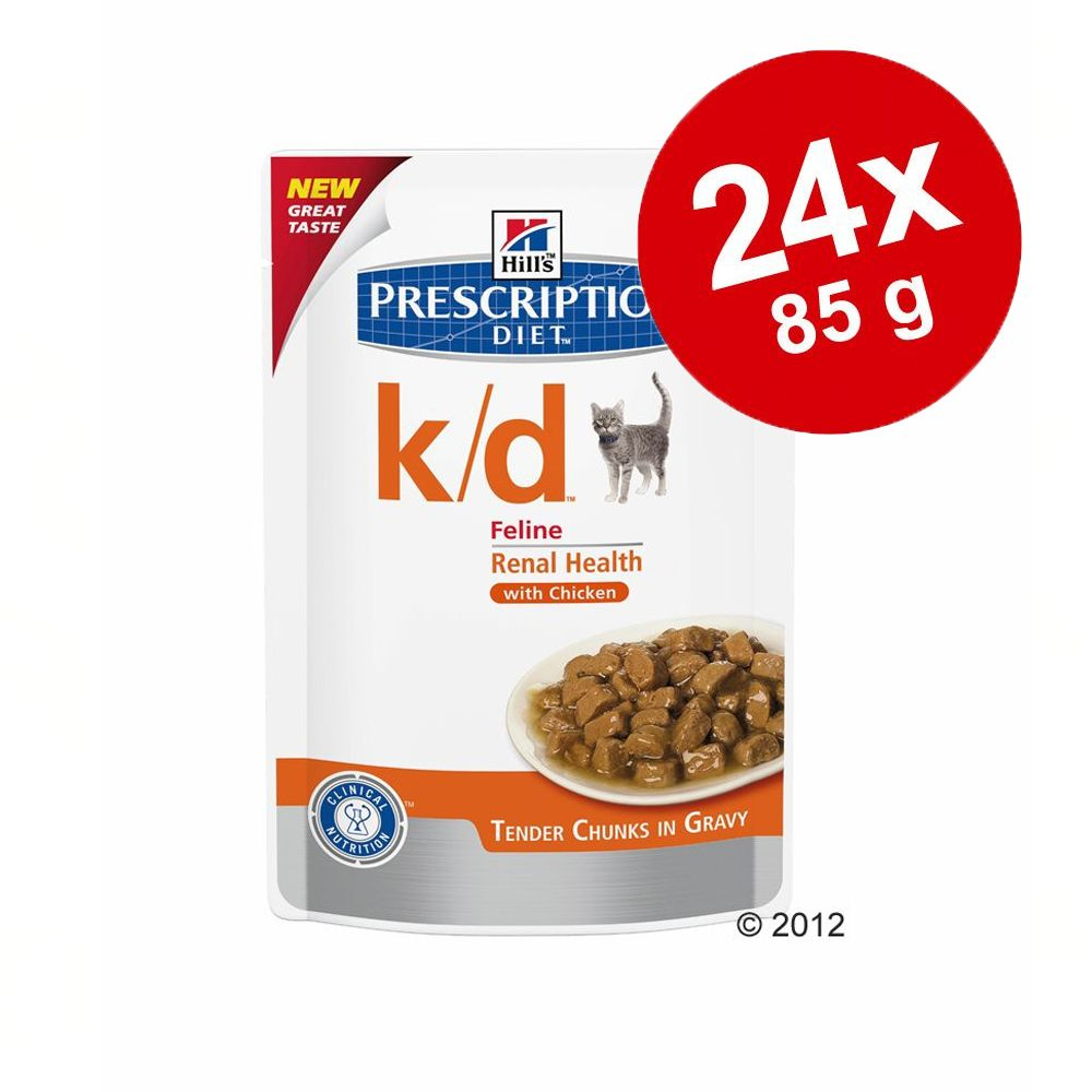 Foto Hill's Prescription Diet Feline umido in busta 24 x 85 g - c/d Urinary Stress Reduced Calorie - Pollo Set risparmio
