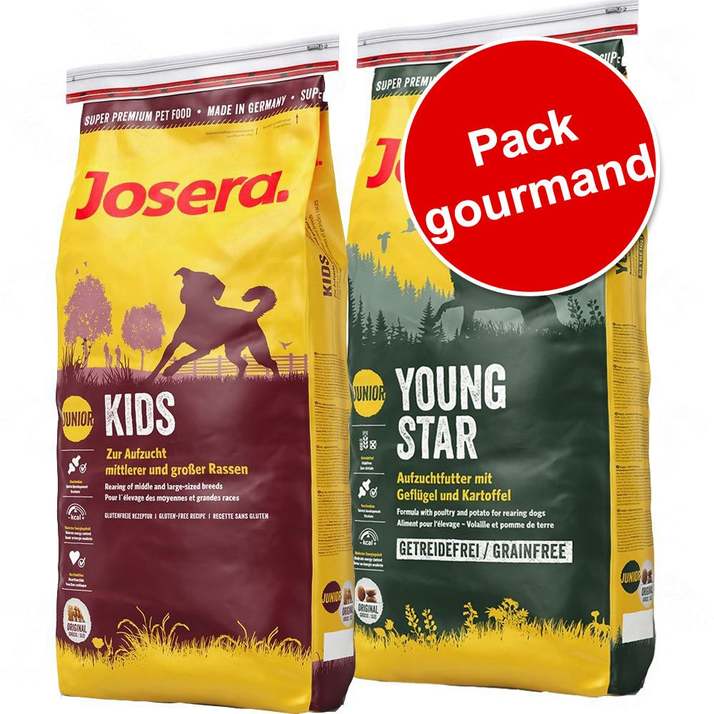 Pack gourmand Josera Junior 2 saveurs FamilyPlus + Kids - Croquettes pour chien