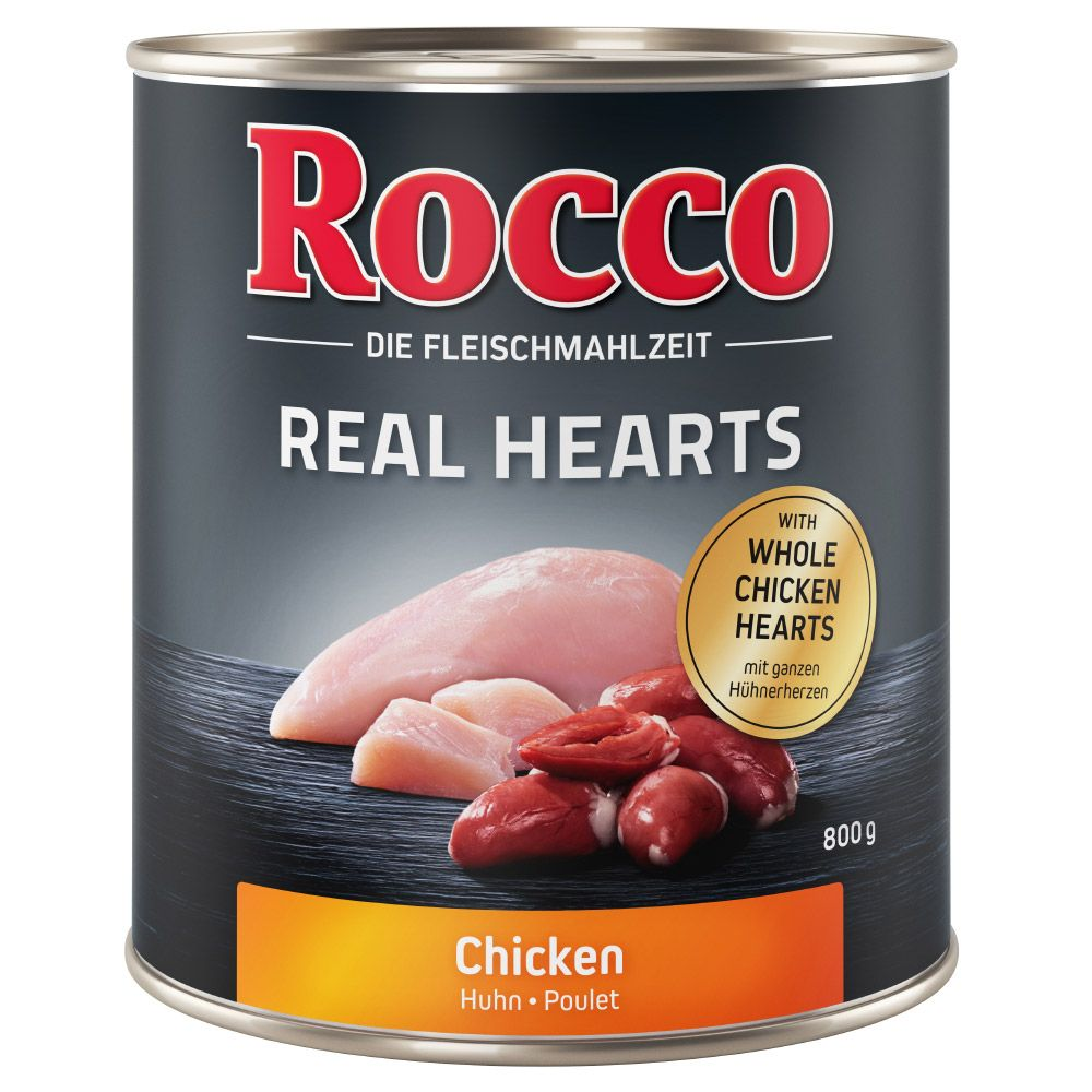 24 x 800g Huhn Rocco Real Hearts Hundefutter nass 4260077047636
