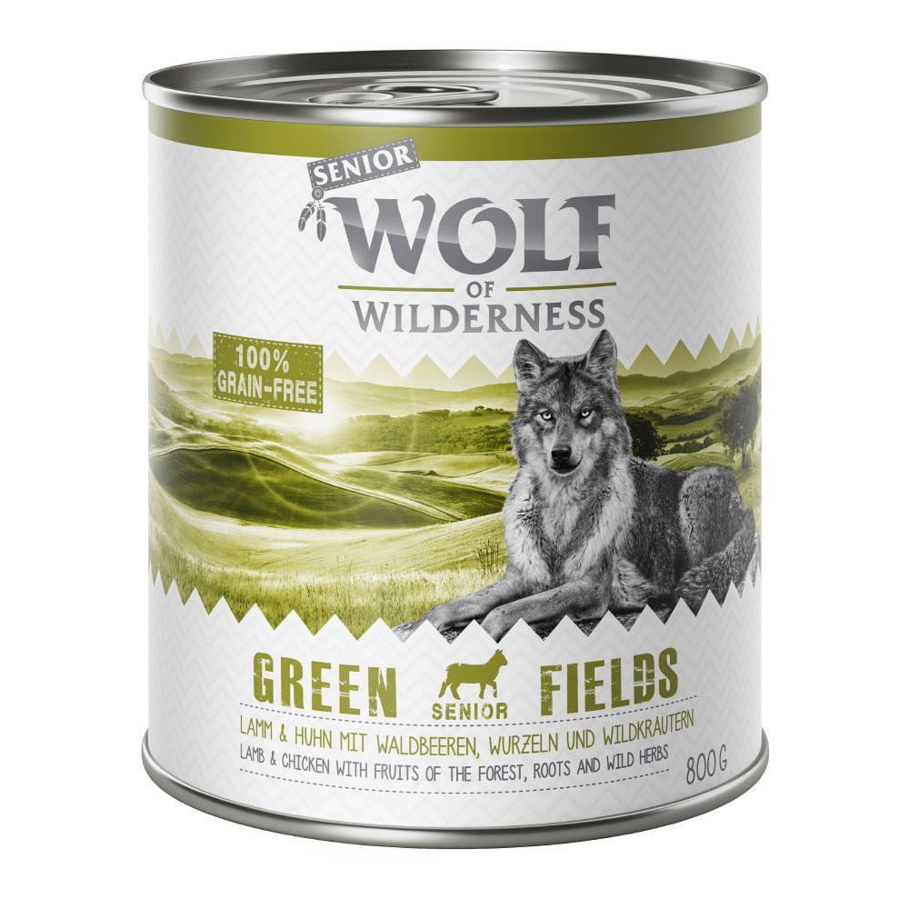 24 x 800g Senior Green Fields Lamm Wolf of Wilderness Hundefutter nass 4260358516721