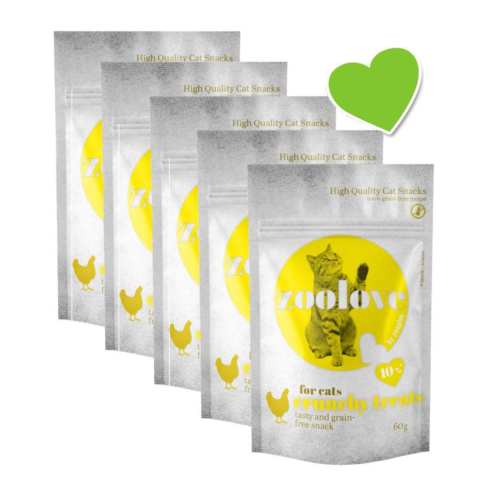 Ekonomipack: zoolove crunchy treats för katter - Blandpack: 3 x kyckling + 3 x ost