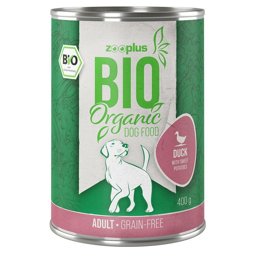 6x400g zooplus Bio canard, patates douces, courgettes (sans céréales) - Pâtée pour chien
