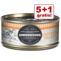 5 + 1 gratis! Bij aankoop van 6 x 70 g Greenwoods Adult Kattenvoer Tonijn