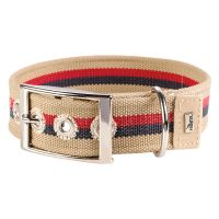 Hunter Canvas New Orleans Stripes Dog Collar - Beige - Size 50: 35-45cm neck circumference