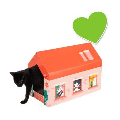 zoolove Home -kissanmökki, mukana raapimisalusta - Winter - P 50 x L 26 x K 36 cm