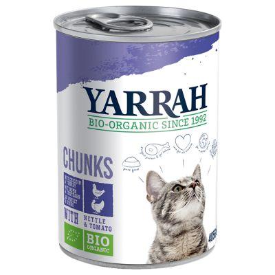 Yarrah Organic Chunks 6 x 405 g - luomukana, luomunaudanliha, luomunokkonen & luomutomaatti