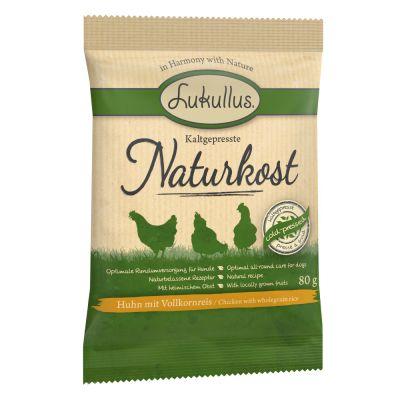Kokeile nyt: Lukullus Naturkost, kylmäpuristettu luomuruoka kana & täysjyväriisi - 3 x 80 g