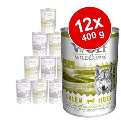 Wolf of Wilderness -säästöpakkaus 12 x 400 g – Green Fields – lammas