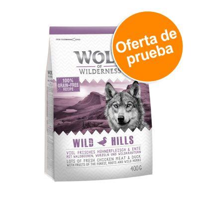 Wolf of Wilderness pienso para perros - Oferta de prueba - Wild Hills - 400 g (Classic, con pato)