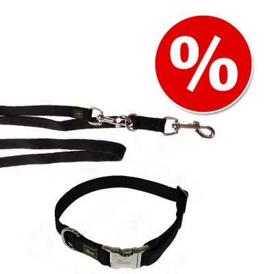Hunter set: Vario Basic Alu Strong Halsband + koppel, svart – Halsband stl. M + koppel 200 cm/20 mm
