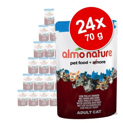 Ekonomipack: 24 x 70 g Almo Nature Azul Label – Tonfisk & lax