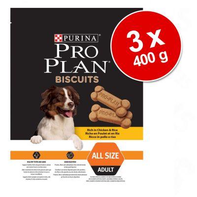 Galletas para perros Purina Pro Plan: 3 x 400 - Light