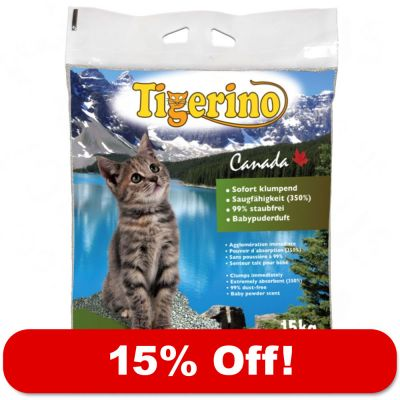 2 X 15kg Tigerino Canada Cat Litter - 15% Off! - Unscented (2 X 15kg)