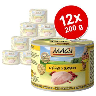 Ekonomipack: 12 x 200 g MACs Cat kattfoder – Nötkött