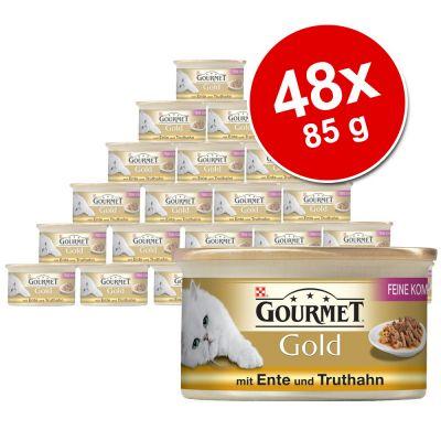 Blandpack Gourmet Gold Fina kompositioner 48 x 85 g – Anka & kalkon, Nötkött & Kyckling