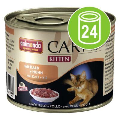 Animonda Carny - Animonda Carny Kitten Voordeelpakket Kattenvoer 24 x 200 g - Kalf & Kip