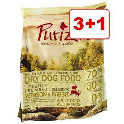 4 x 400 g Purizon Adult: 3 + 1 kaupan päälle! – Adult Venison & Rabbit