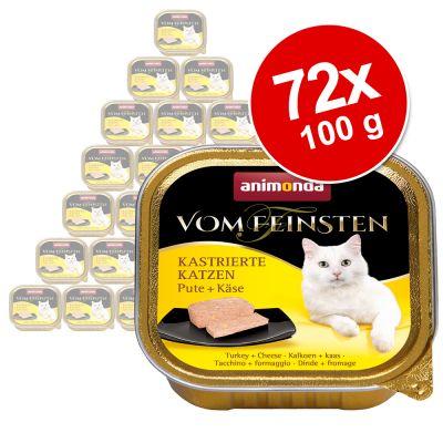 Animonda vom Feinsten for Neutered Cats -suurpakkaus 72 x 100 g - kalkkuna & juusto