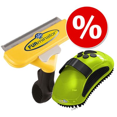 FURminator deShedding Tool koirille + FURminator-harja kaupan päälle! - Short Hair, S: kamman leveys 4,4 cm