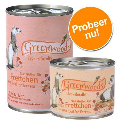 Greenwoodssmallanimals  - Gemengd Pakket Greenwoods Natvoer voor Fretten - 6 x 400 g rund &amp, kip + 12 x 200 g kip