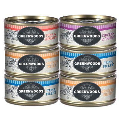 6 x 70 g Greenwoods Nassfutter Mixpaket