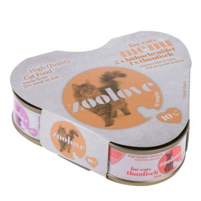 zoolove Probierbox Katzennassfutter: Hühnchen und Thunfisch - 3 x 70 g