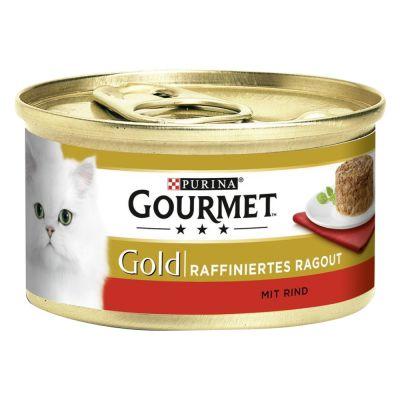 Levně Gourmet Gold Raffiniertes Ragout 12 x 85 g - Duo hovězí a kuřecí