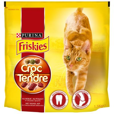 Friskies Croc & Tendre - Rund, Kip & Groenten Kattenvoer - Voordeelpakket: 4 x 1,5 kg