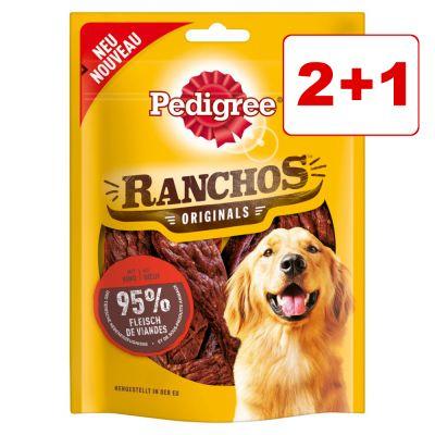 Pedigree koiranherkut 3 pakkausta: 2 + 1 kaupan päälle! - Ranchos, nauta (3 x 70 g)