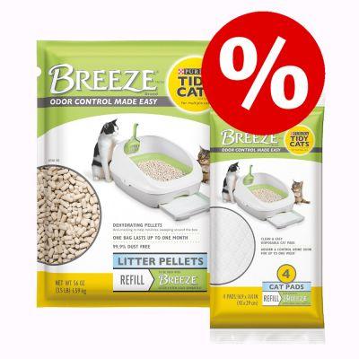 Purina Tidy Cats Breeze -imutyynyt + kissanhiekan täyttöpakkaus erikoishintaan! - kissanhiekan täyttöpakkaus (1,59 kg) + imutyynyt (4 kpl)