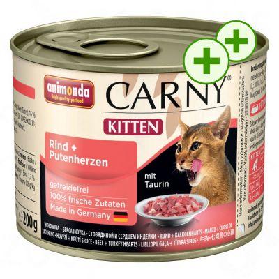 2x zooPisteitä: Animonda Carny kissanruoka 24 x 200 g - Kitten: nauta & siipikarja
