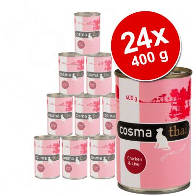 Cosma Thai hyytelössä -säästöpakkaus 24 x 400 g - kana & tonnikala