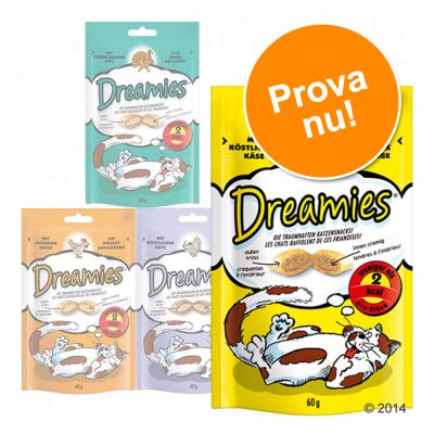 Blandat provpack: Dreamies Cat Treats 4 x 60 g – Ost, Kalkon, Lax och Nötkött