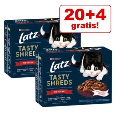 20 + 4 gratis! 24 x 80 g Latz Tasty Shreds Pouches - Fish Selection