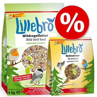 Sekoitus: Lillebro-linnunruoka 4 kg + Lillebro-jauhomadot 500 g – 4 kg ruokasekoitusta + 500 g jauhomatoja
