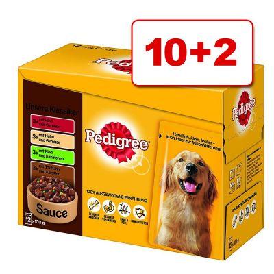 12 x 100 g Pedigree Pouch -monipakkaus: 10 + 2 kaupan päälle! – in Sauce (12 x 100 g)