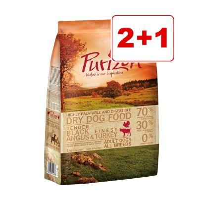 Purizon koiranruoka 3 kg: 2 + 1 kaupan päälle! - Adult Black Angus & Turkey