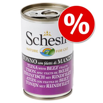 Schesir in Jelly kissanruoka 48 x 140 g erikoishintaan! - kanafile & kinkku hyytelössä