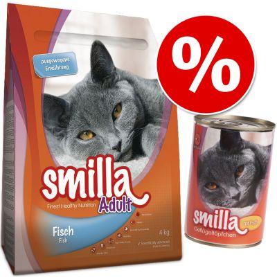 Sekoitus: Smilla-kuivaruoka 4 kg + samanmakuinen märkäruoka - Adult, nauta + 12 x 400 g siipikarja & nauta
