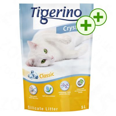 2x zooPlusPisteitä: Tigerino Crystals kissanhiekka 6 x 5 l - 6 x 5 l
