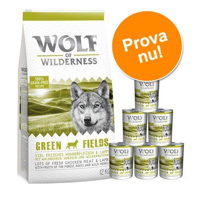 Wolf of Wilderness: 12 kg torrfoder + våtfoder - Oak Woods torrfoder & 6 x 800 g blandade våtfoder