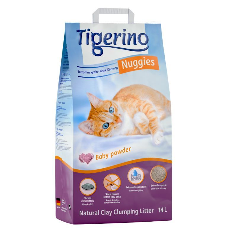 Tigerino Nuggies Ultra klumpströ - Baby Powder - Ekonomipack: 2 x 14 l