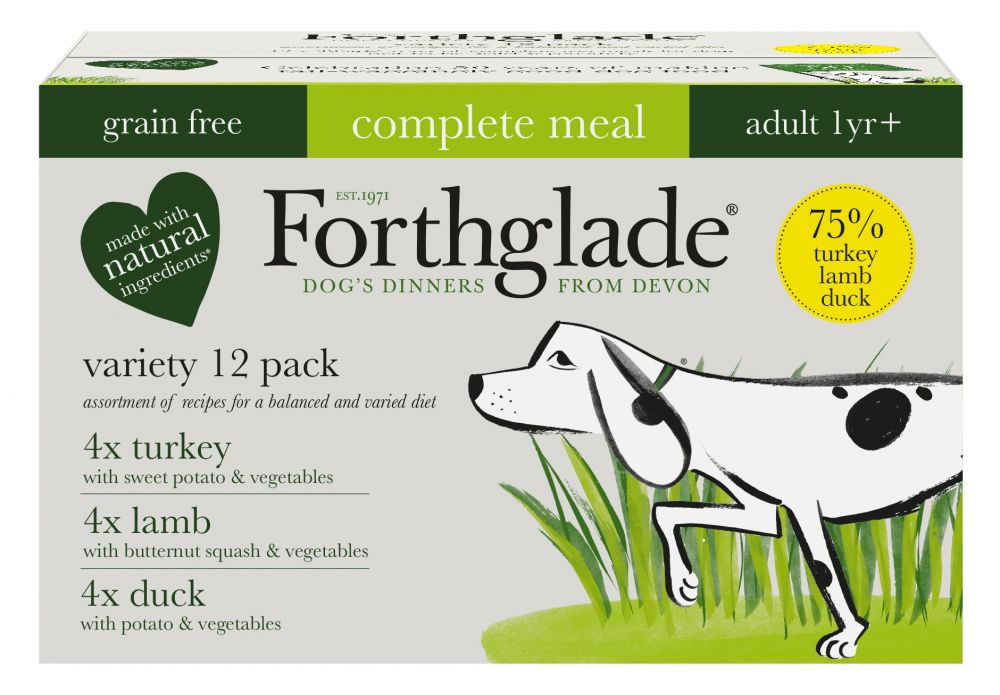 Forthglade Complete Meal Grain Free Adult Dog - Mixed Pack - Saver Pack: 36 x 395g
