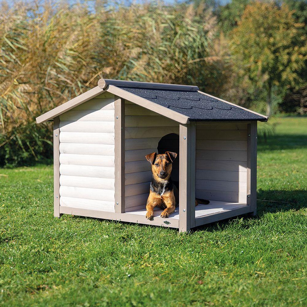 Trixie Natura Hundehütte Lodge mit Terrasse - Größe M/L: B 130 x T 100 x H 105 cm, grau (2 Pakete*)