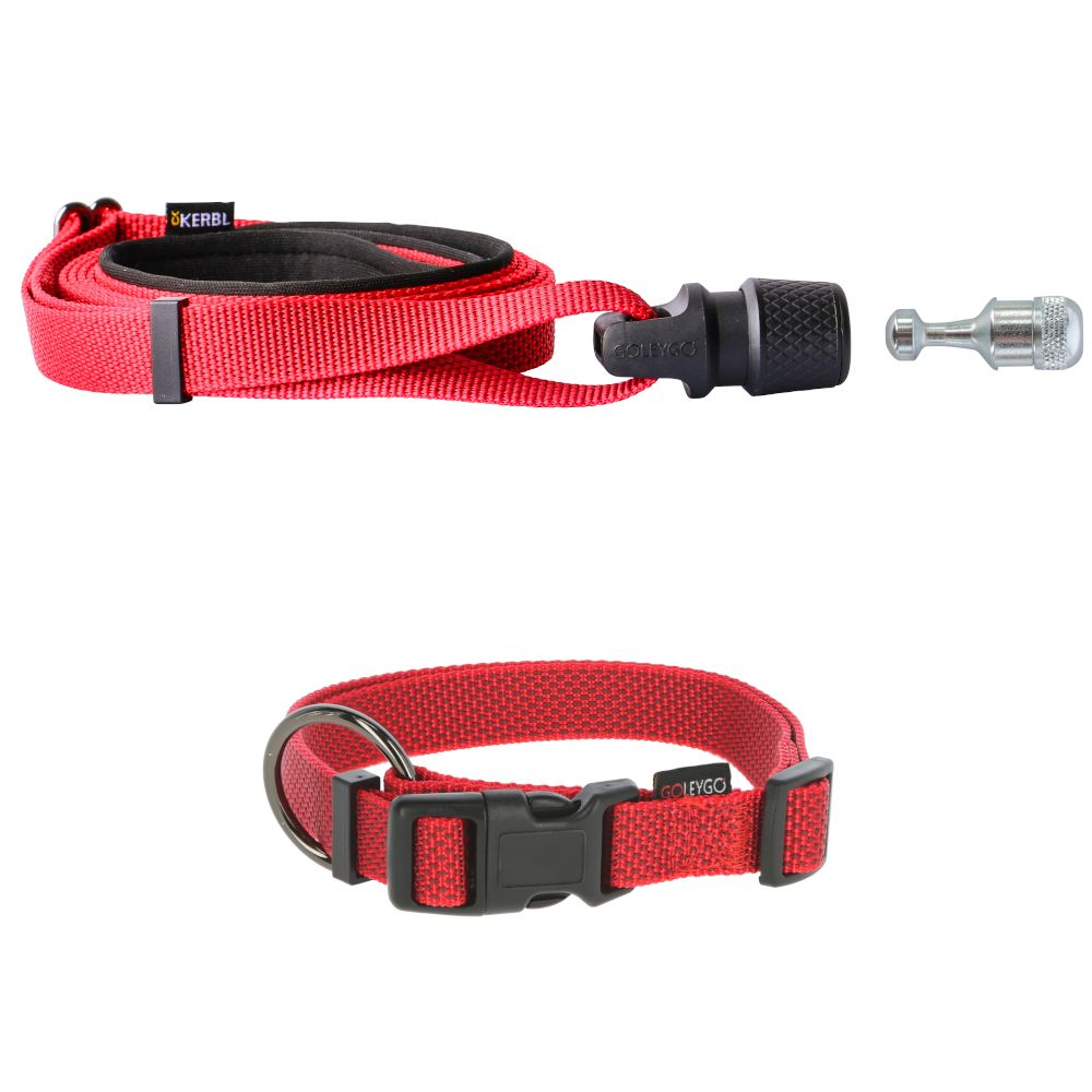 GOLEYGO Lead and Collar Set Red - by Kerb Collar Size M + Lead 140 - 200cm long, 20mm wide Dog