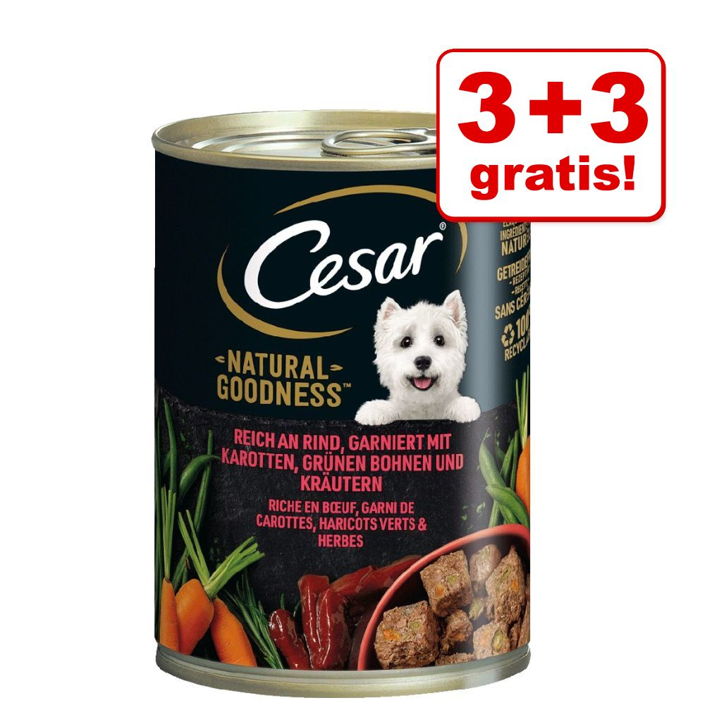 Image of 3 + 3 gratis! 6 x 400 g Cesar Natural Goodness  - Pollo